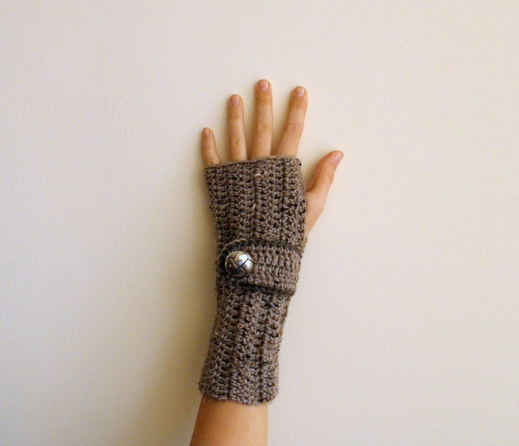 Fingerless Gloves Wrist Warmers Arm warmers Mittens textured taupe brown coffee nougat cyber monday - Accessorise