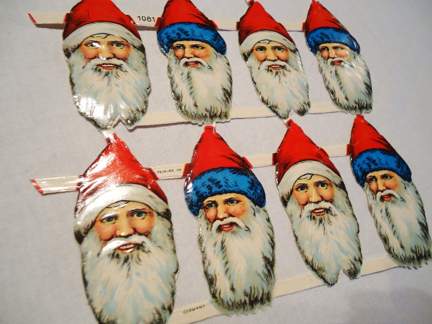 Vintage 10 Santa Claus Di-Cuts, Germany, Embossed, Scrapbooking, Art Supply, Card Making, Ephemera