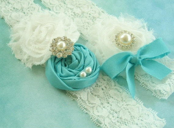 Tiffany Blue Bridal Garter Set