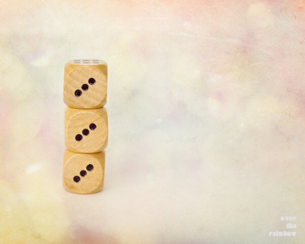 Nursery decor, Dice, Three, Game, Three dice, Playful photograph, Cubes, 10x8 - titled: Three