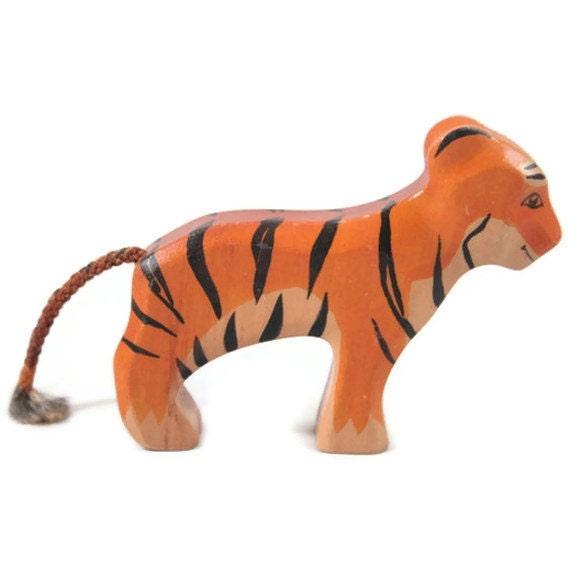 Toy Tiger Baby woodencolurful orange black stripes standing Size 9,5 x 7,0 x 2,0 cm (bxhxs)  approx. 31,0 gr. - GeorgiaWoodenToys