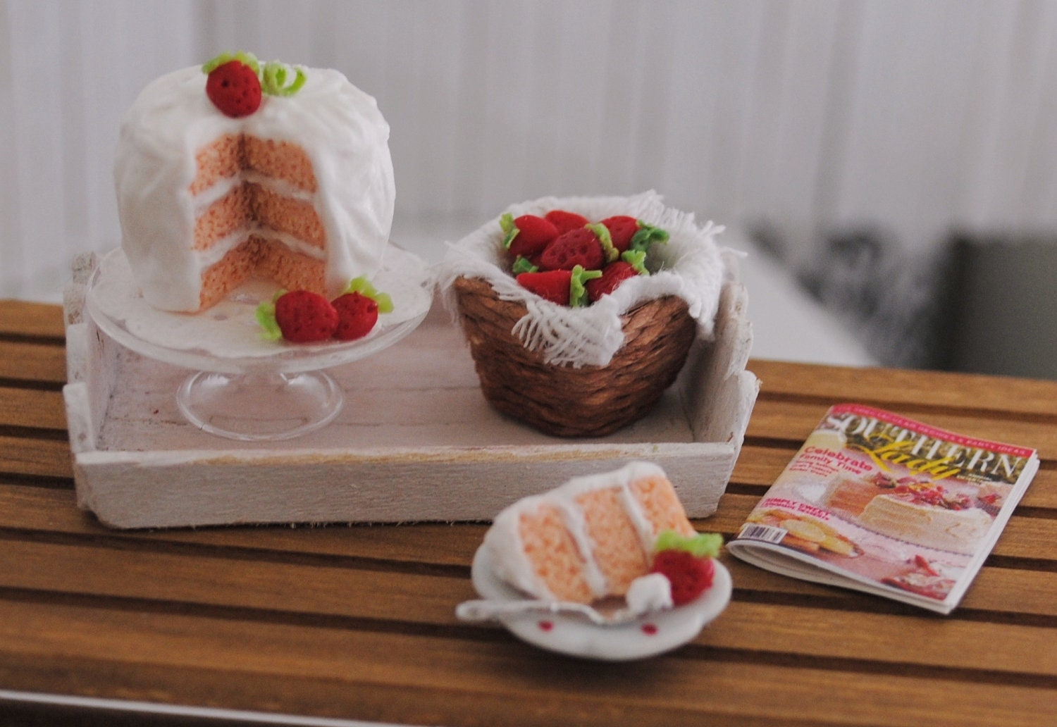 Miniature Strawberry Cake With A Basket Of Strawberries On A Shabby Chic Tray - LittleThingsByAnna