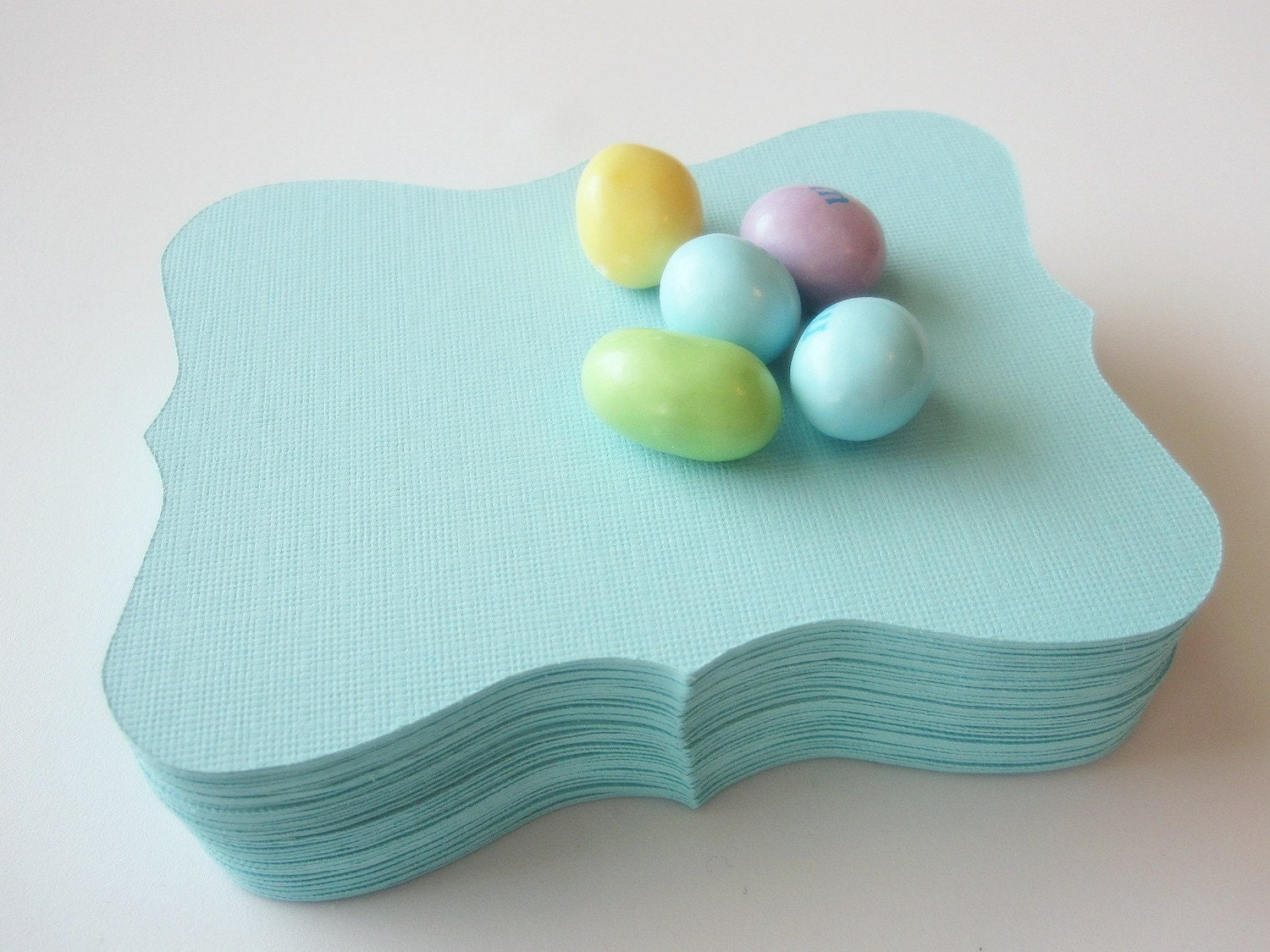12 candy jar labels , Large Bracket cards (4.5 x 3.5 inches) in Teal Textured Cardstock