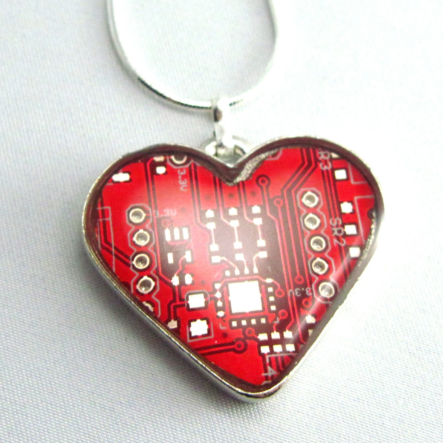 red circuit board heart necklace valentines day