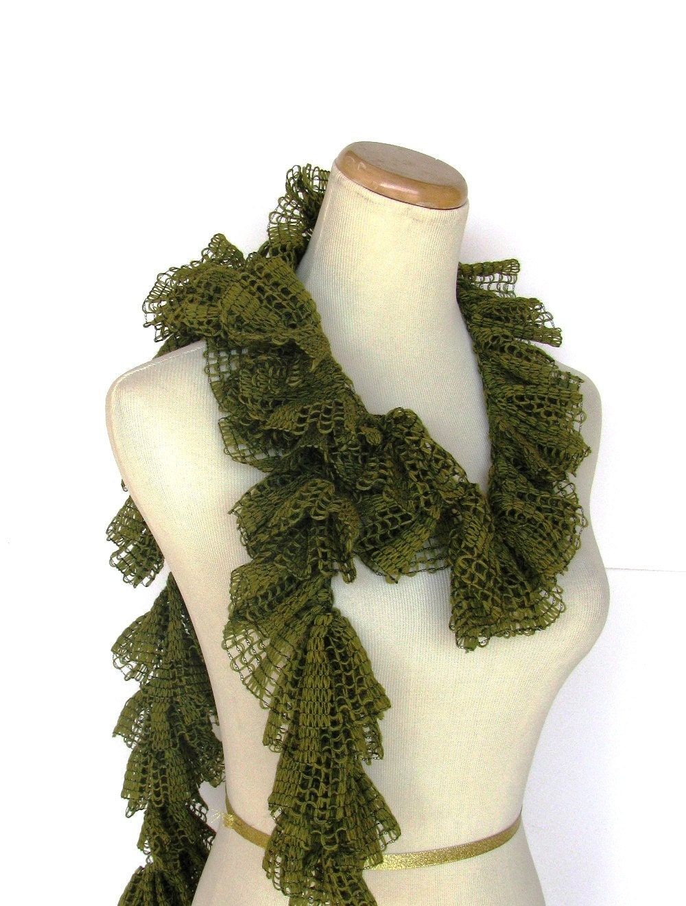 Olive Green Hand Knit Ruffled Scarf -