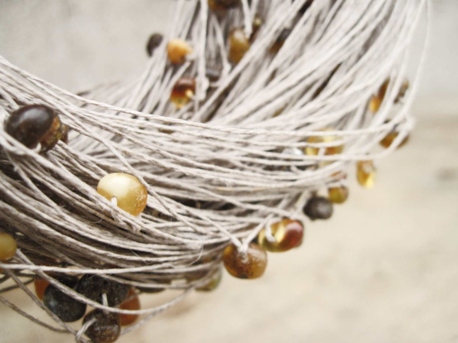 Natural Raw Amber Linen Necklace, Multi Strand Organic Jewelry, Earthy Color - DreamsFactory