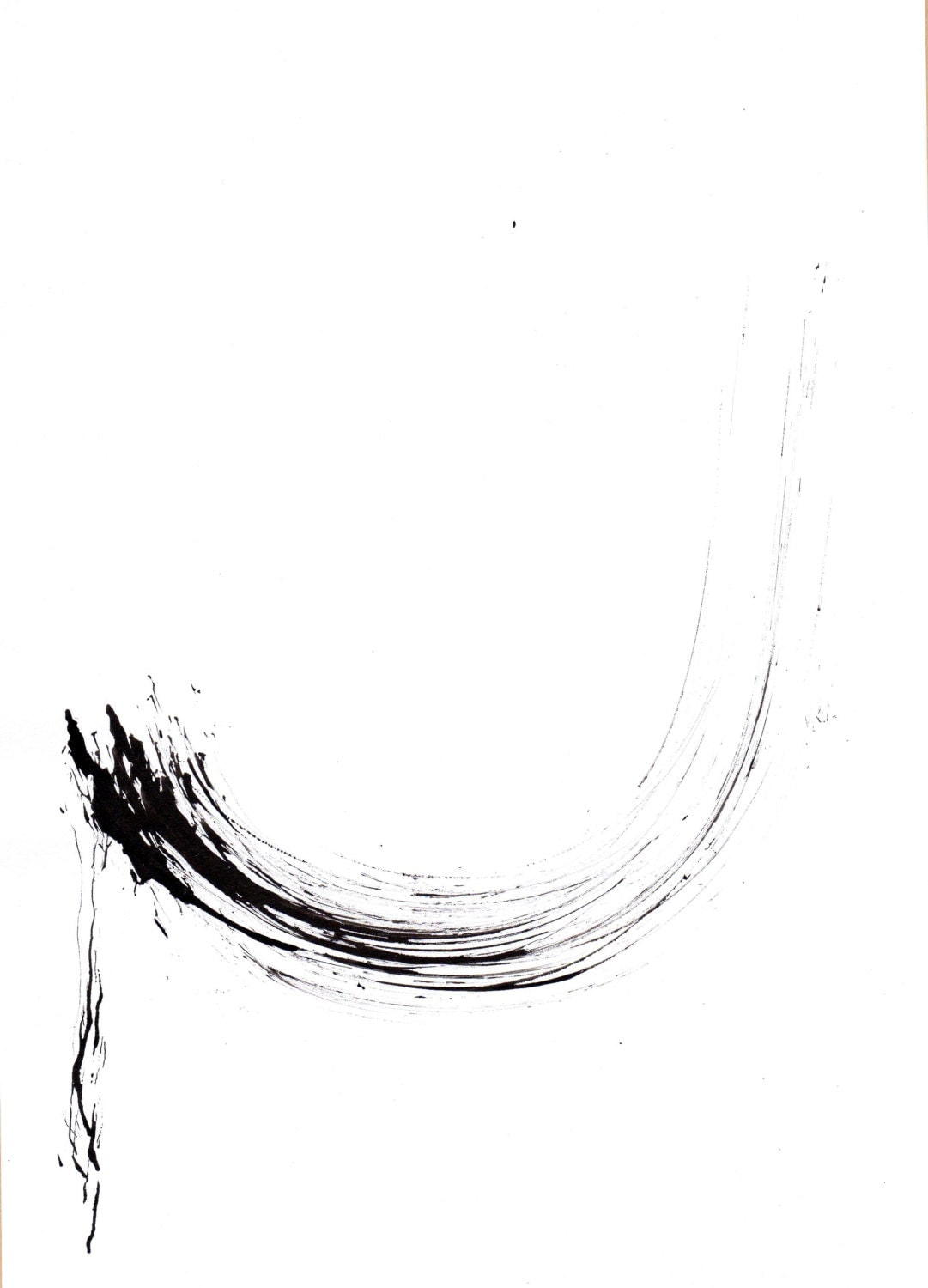 Original abstract ink drawing on paper A4 - Little feather folling - ComArt