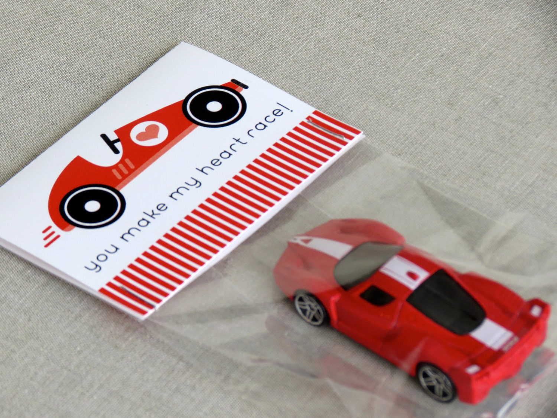 Printable Valentines - Racecar - PDF File