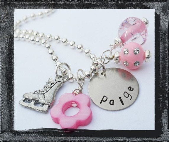 Ice Skating Jewelry - Personalized Necklace - Hand Stamped Skate Necklace