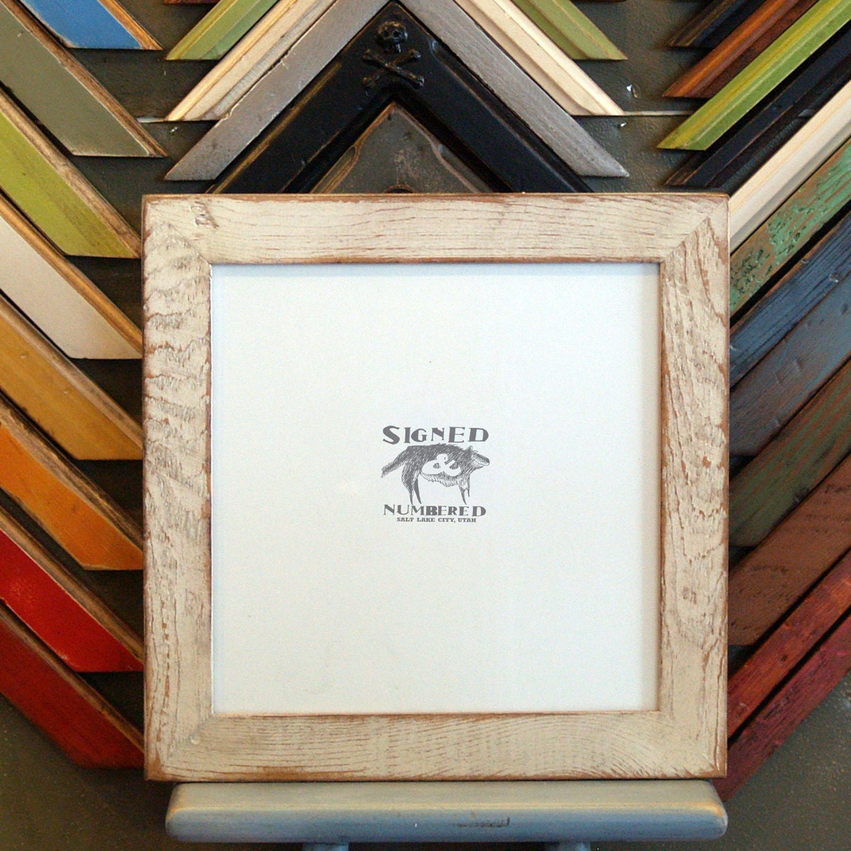 10x10 square picture frame with super vintage white finish in reclaimed fir