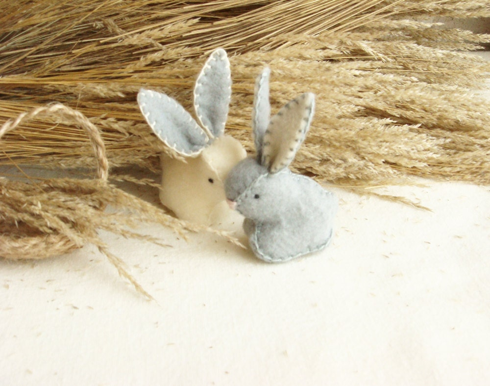 Couple Tiny Easter Bunnies Soft Miniature Rabbits With a Basket  Hand Made - sistersdreams