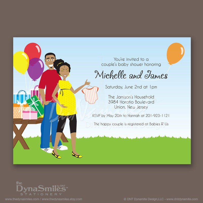 Outdoor Couple - Baby Shower Invitation - African American