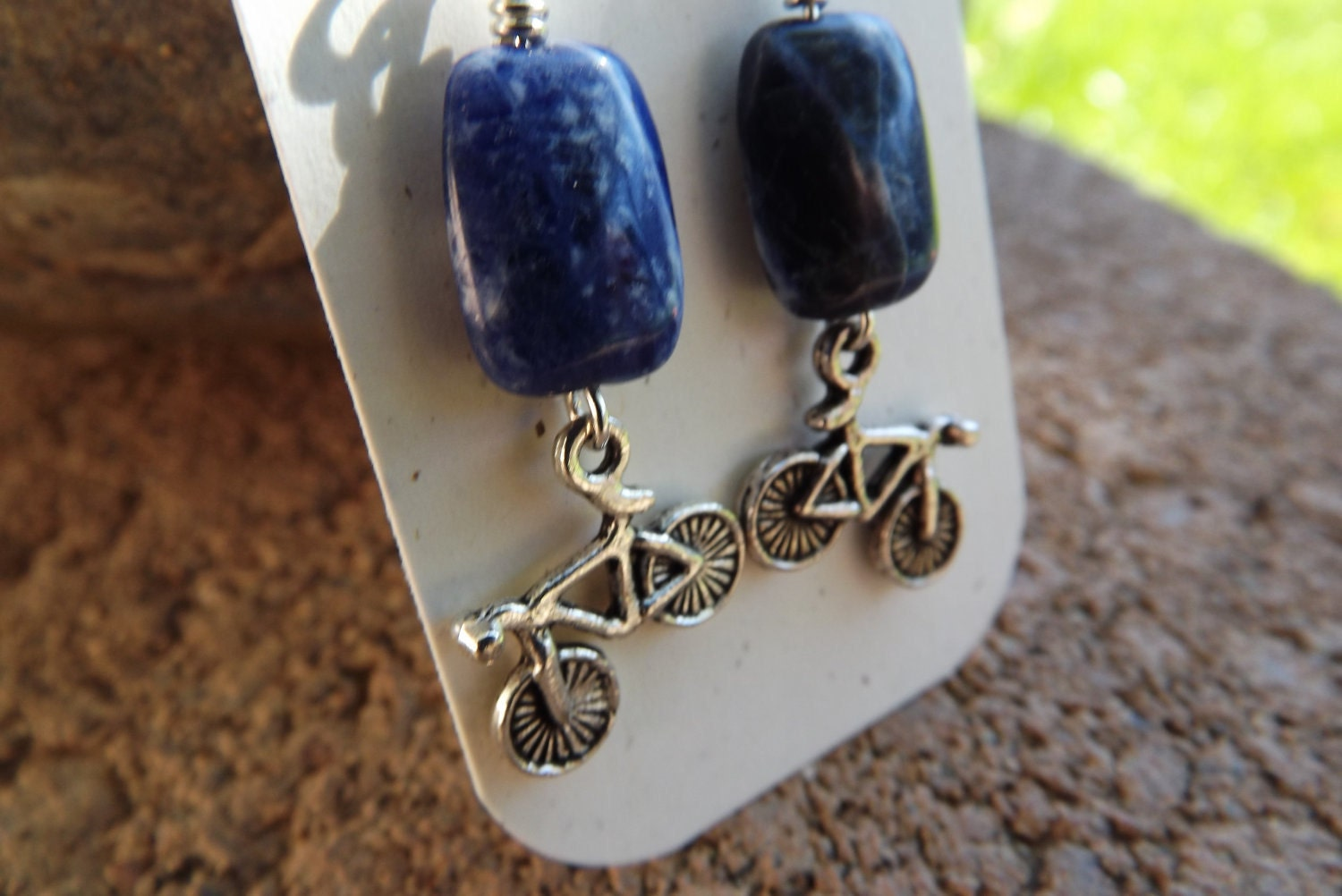 Soladite and Silver Bike Earrings