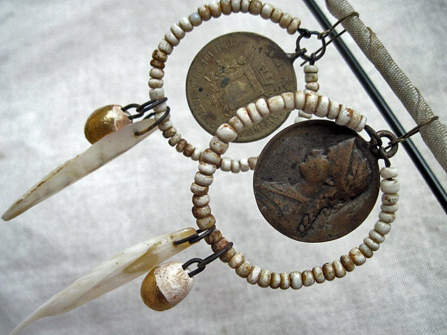 Theomeny. Antique medallions white assemblage earrings.