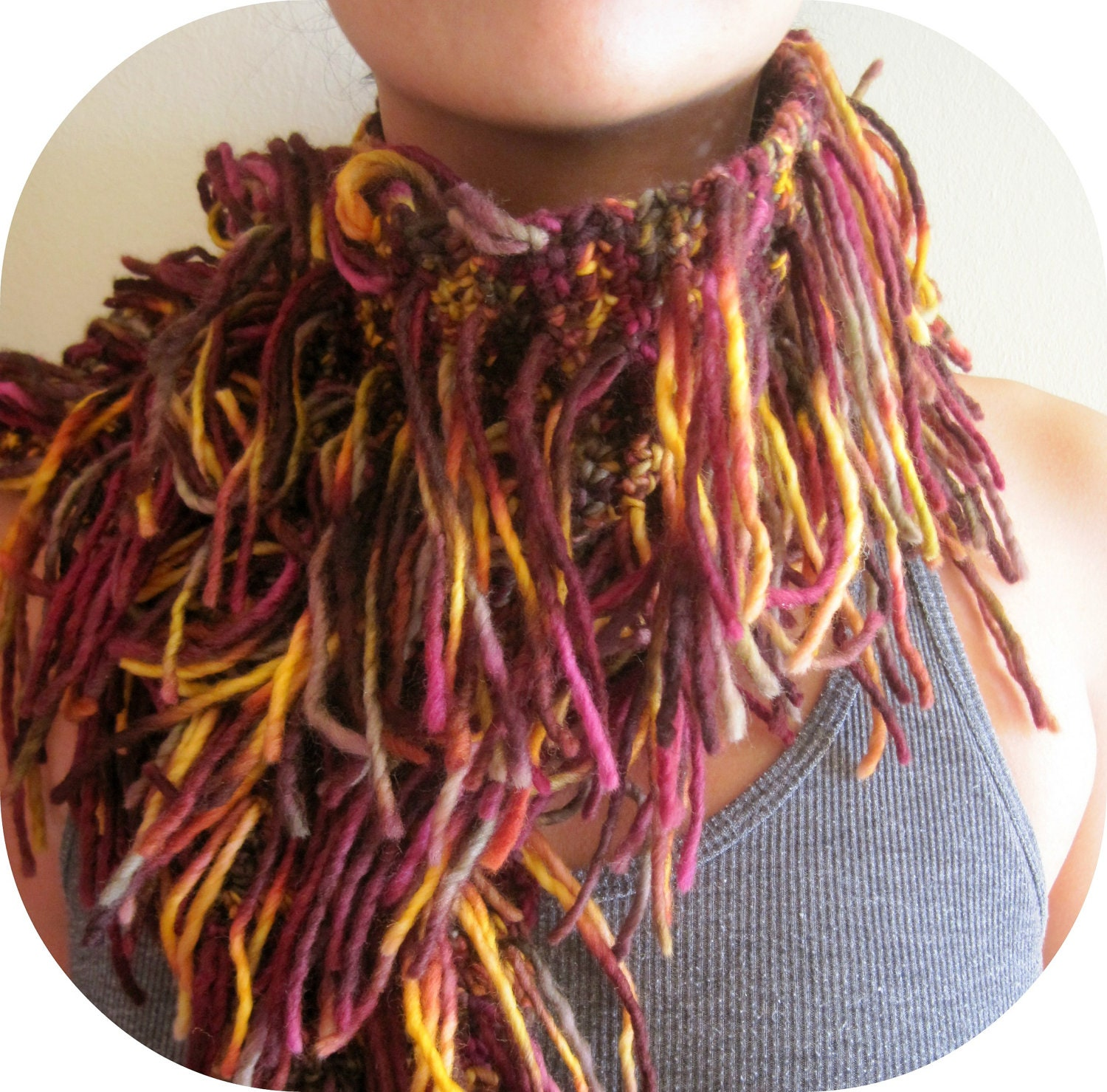 Handmade knitted scarf, multicolor, with multi strands, cozy, warm - YanasKnitting
