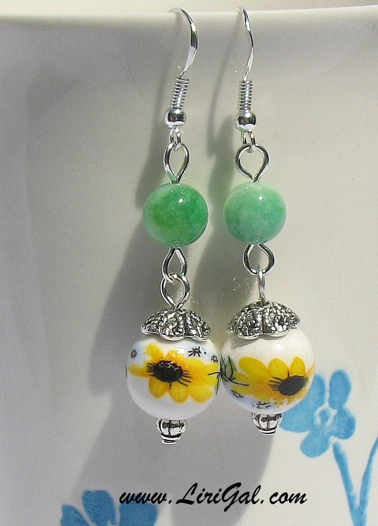Sunflower Chinese Porcelain Sterling Silver Earrings