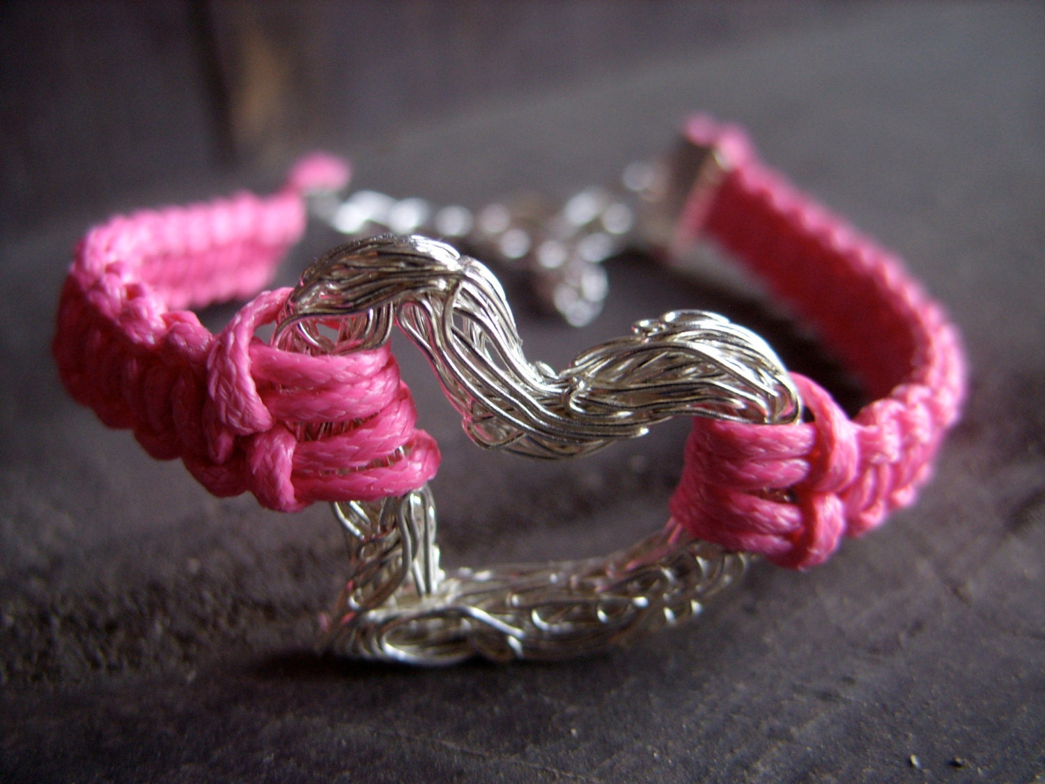 mother's day heart bracelet valentines day for her pink silver love wire heart macrame bracelet friendship bracelet braided jewelry - MageBraids