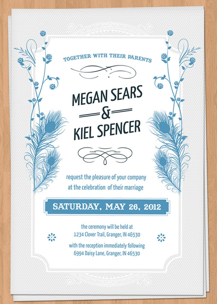 Peacock feather wedding invitation feather wedding invitation whimsical