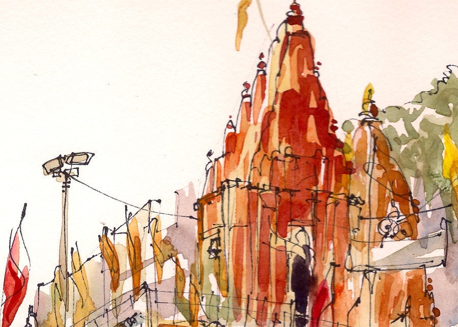 Travel Art Watercolor, Orange Temple, Varanasi, India, Study in warm colors: red, orange and terracotta, A sketch - 8x10 print - SketchAway