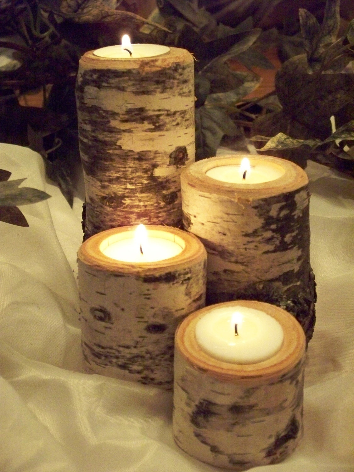 Rustic Candle Holder set of 4. Wedding Decor. Birch Tealight Candle Holder - Northwoodswood