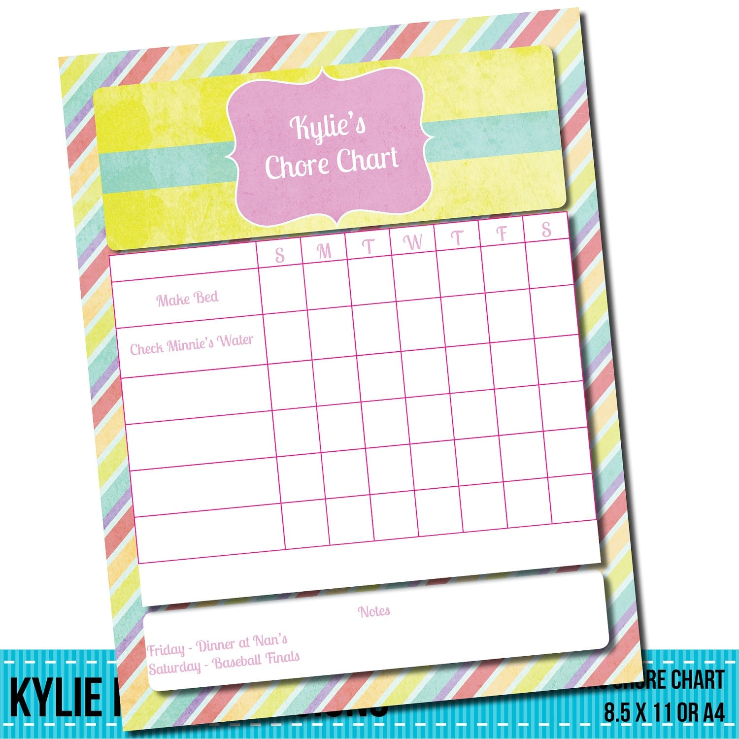 Weekly Chore Chart - Editable PDF Scrapbooking CU OK  Instant Digital Download & Printable