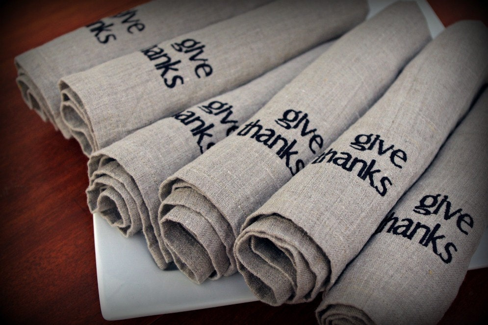 Thanksgiving Linen Napkins in NATURAL Set of 6 Two Words give thanks