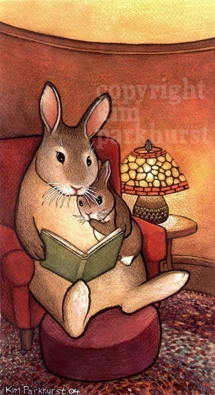Bunny Rabbit Storytime Fairy Tale Signed Print