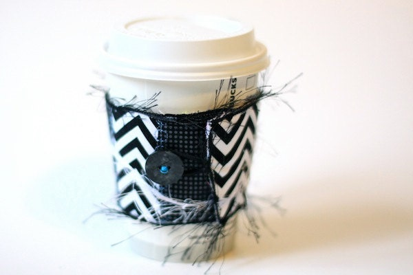 Eco Friendly Reusable Coffee Cup Cozy -  Black and White