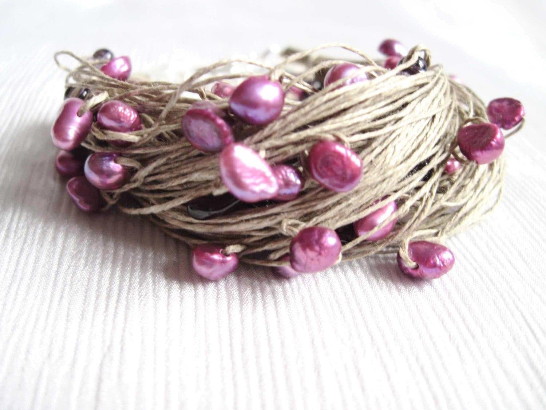 Natural Pearl Linen Bracelet Deep Puple Garnet Amethyst Lilac Fuschia Magenta Pink Gemini Junes Birthstone Summer Fashion Jewelry - DreamsFactory