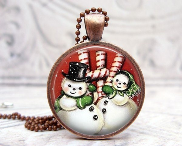Snowman Peppermint Necklace - Glass Dome Vintage Copper - Picture Pendant, Photo Pendant, Wearable Art Jewelry by Lizabettas
