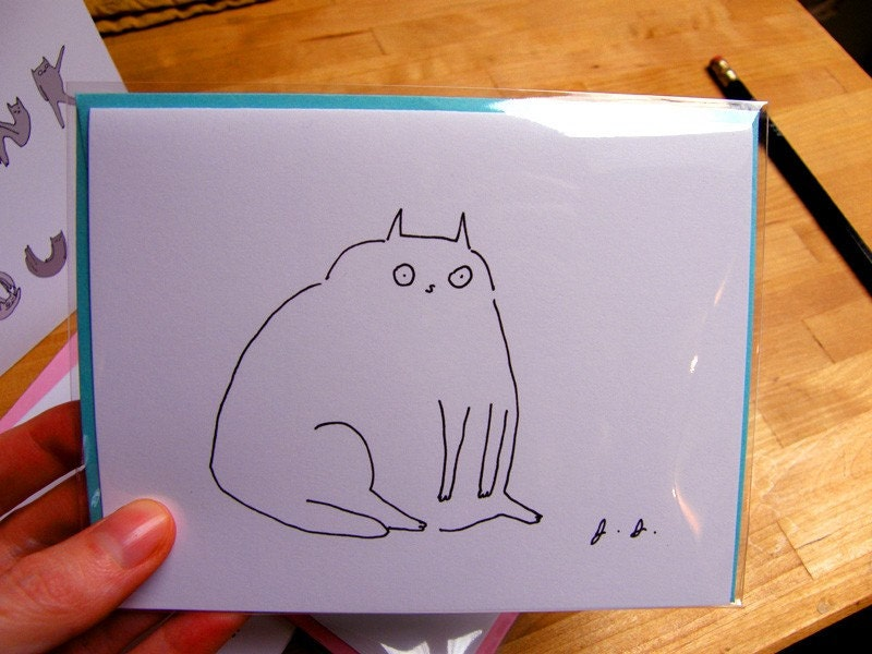 Gobbling Glutton Cat Card