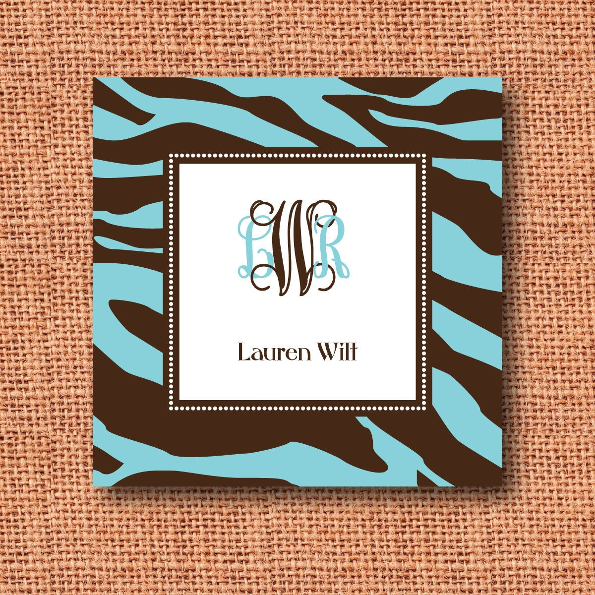 blue and brown zebra print monogrammed calling card, enclosure card, gift tag, mommy card