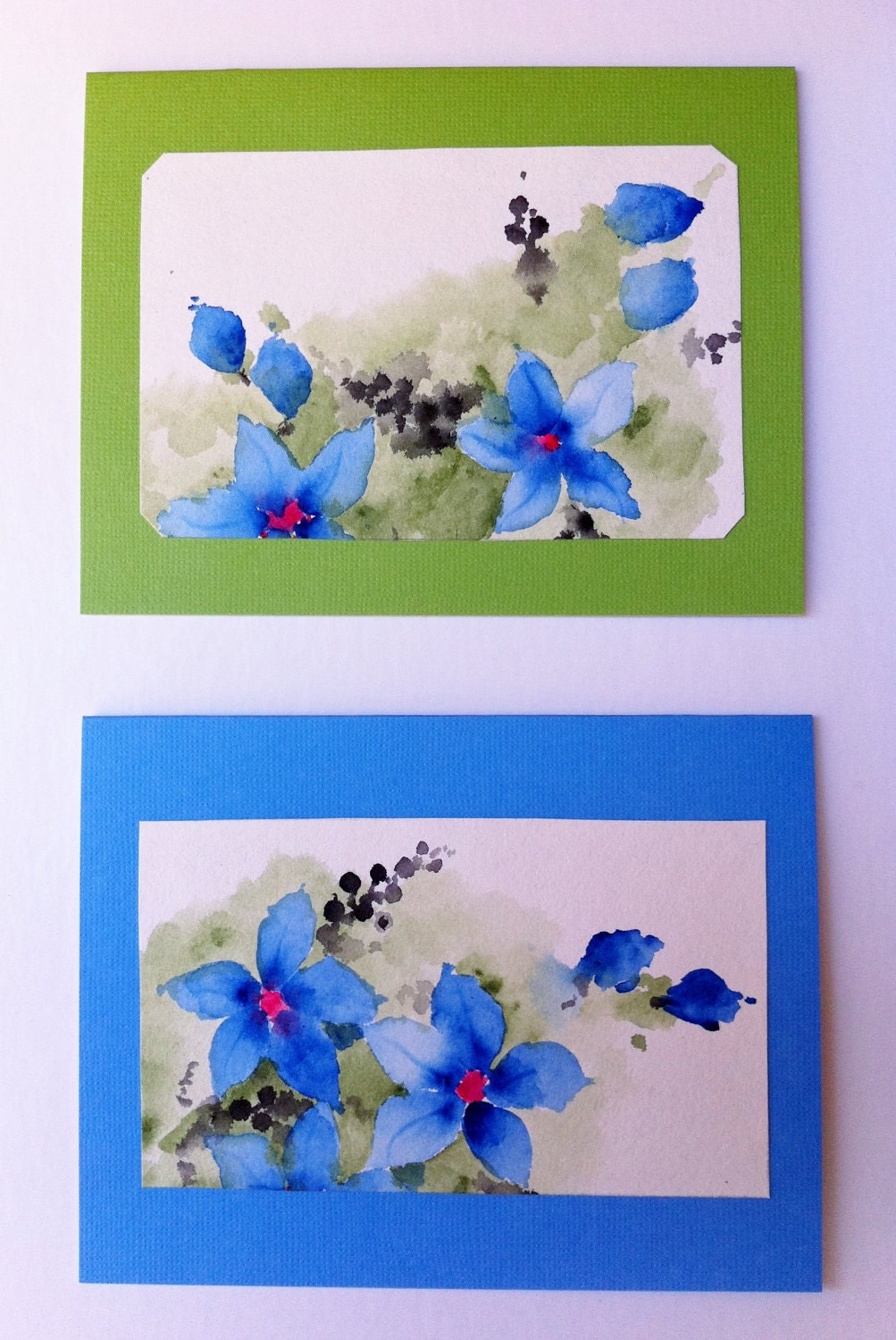 Hand Painted Greeting Cards, Blue Flower Paintings, Original Watercolor, Blue, Green, Blank NoteCards, Winter, Set of Two, OOAK