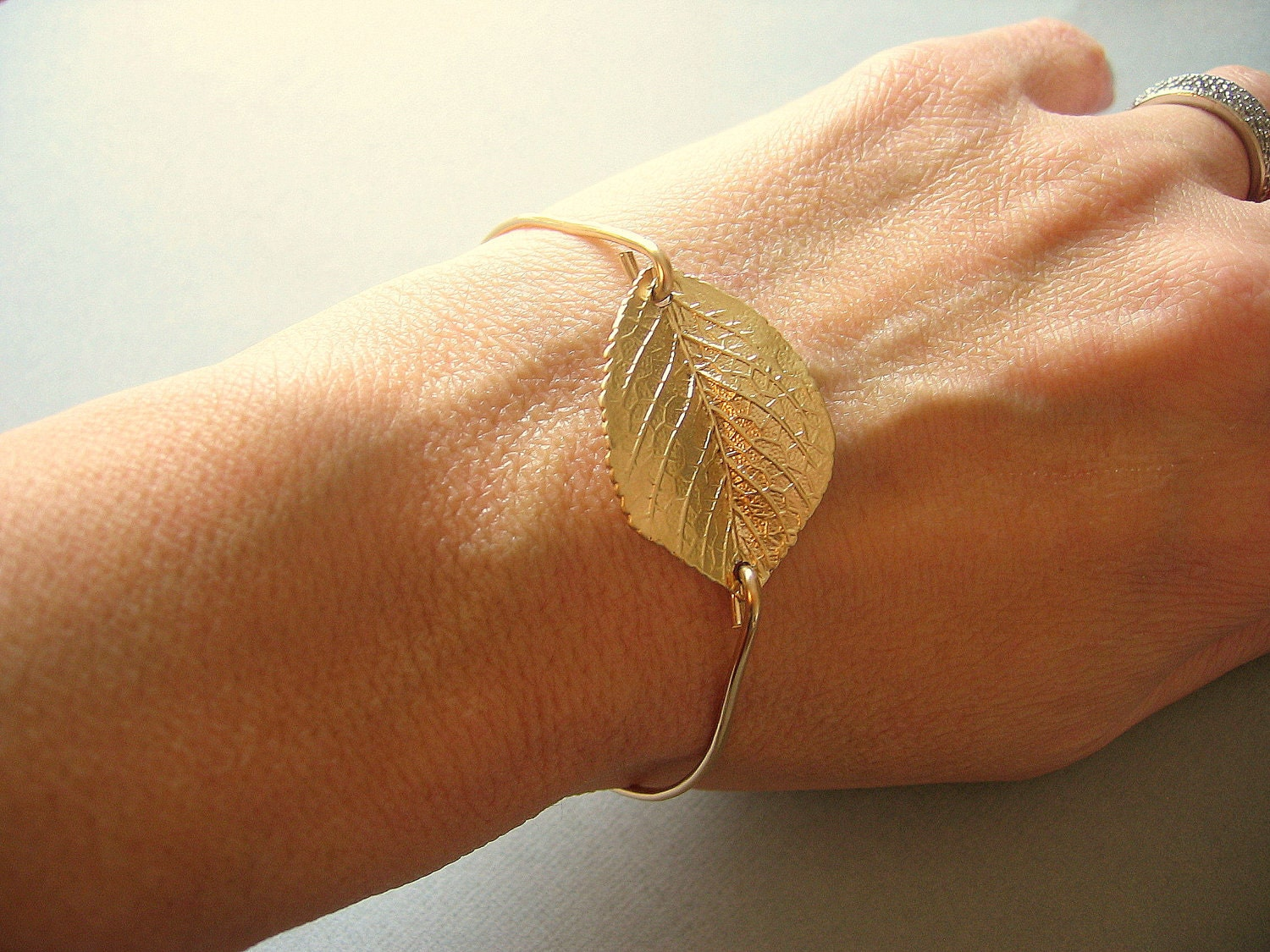 Gold Leaf Bangle, Gold Bangle, Gold Bracelet, Valentines Gift