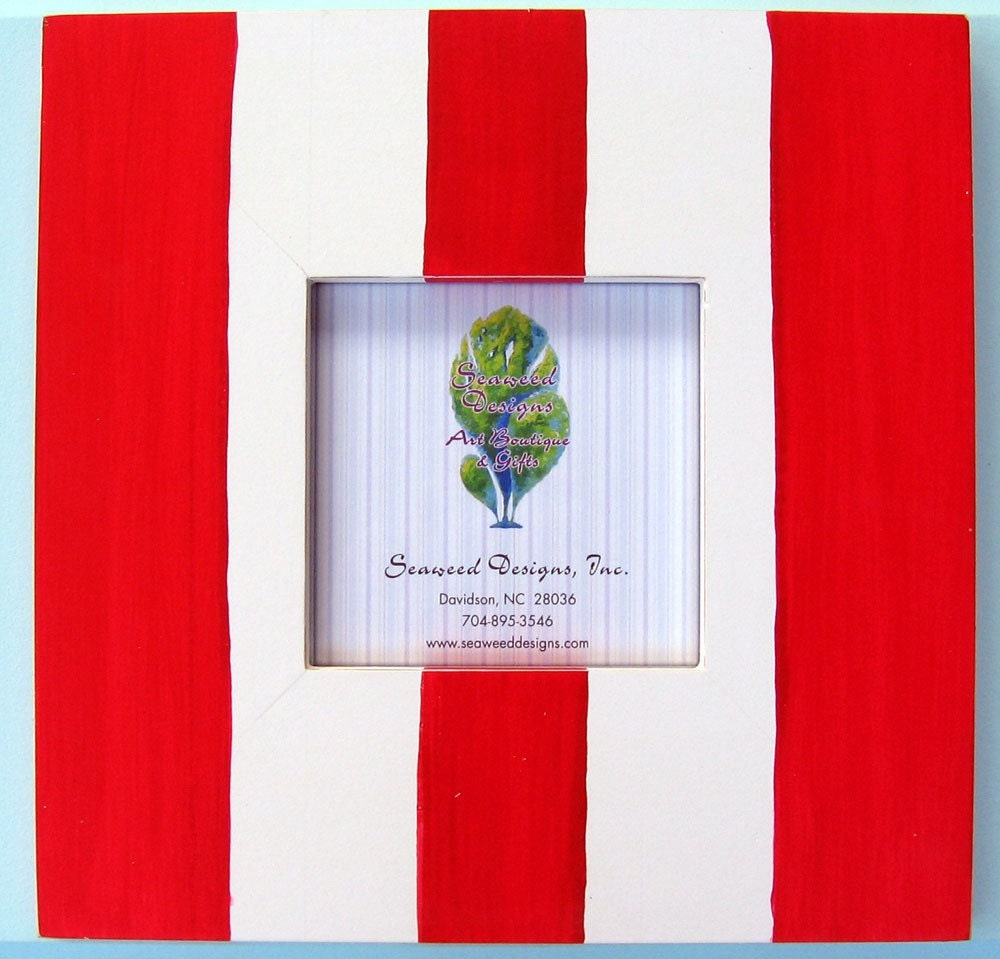 FREE SHIPPING 12x12 Cottage Striped Picture Frame - Red over White Shabby Beach Wedding Nursery Decor Distressed