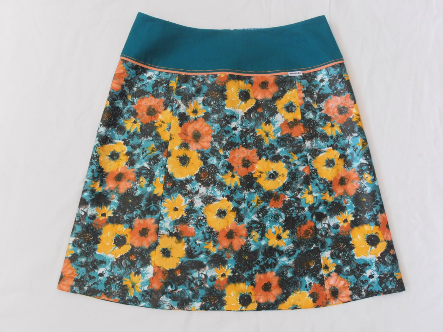 painterly floral...vintage fabric Aline skirt with yoke waistband - grevilleadesign