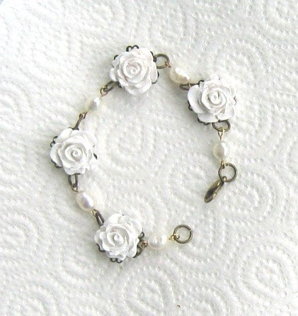 Floral Bracelet in White With Real Pearls, Ideal for Bride or Bridesmaids