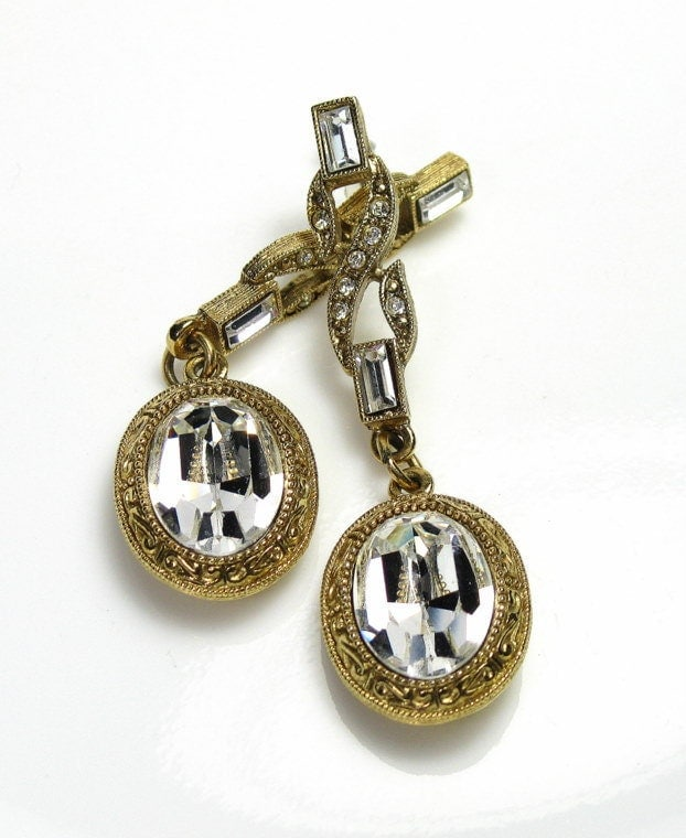 Vintage Earrings Crystal Rhinestone
