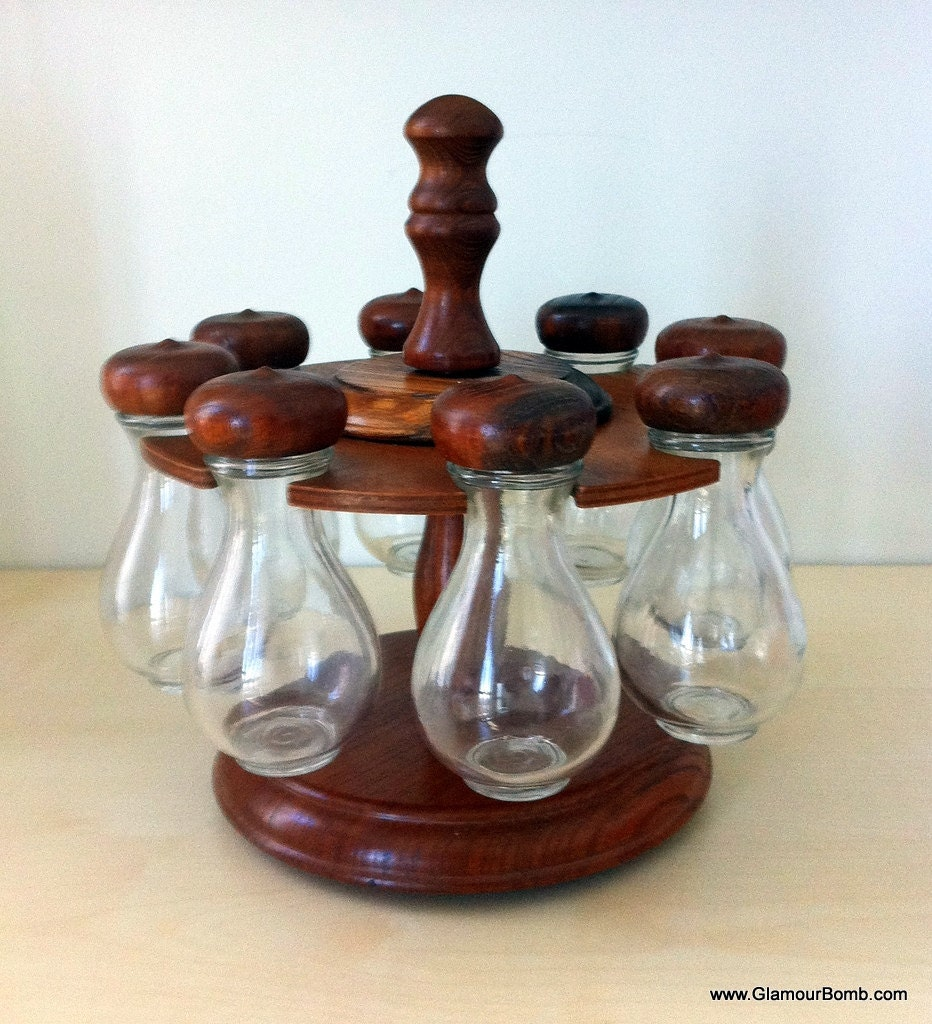 Vintage Apothecary Jar Spice Rack by Woodcrest Styson 1968 -  Wooden and Glass Set - Lazy Susan Style Kitchen Accessories Organizer