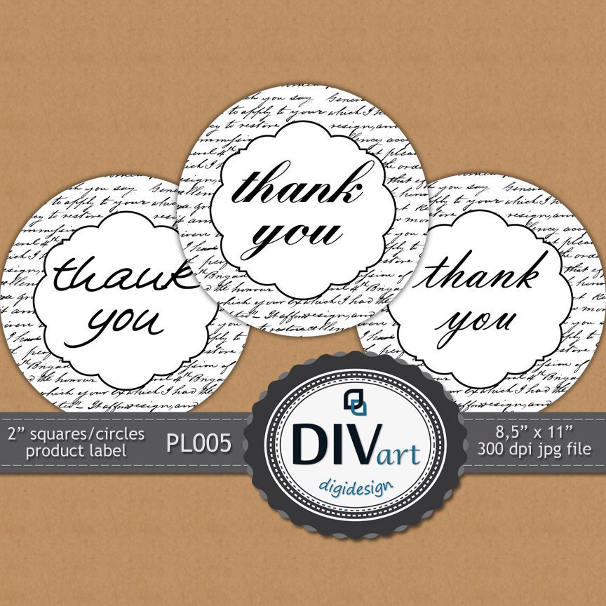 "PRINTABLE  Premade 2"" Product Label - PL005 - Thank You Note - Stickers Avery 22807 - CHOOSE your color"