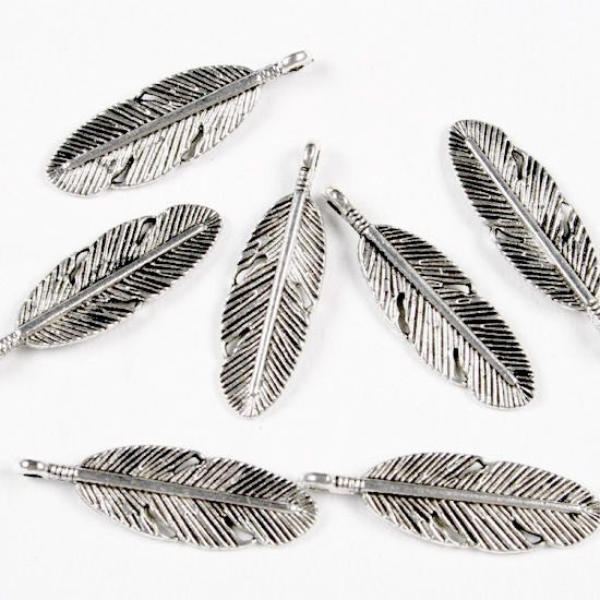 4 Tibetan Silver Feather Charm Pendant Findings