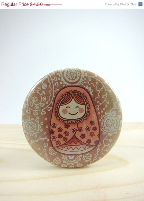 CIJ SALE Pocket Mirror - Compact Mirror with Muslin Pouch - Matryoshka Doll
