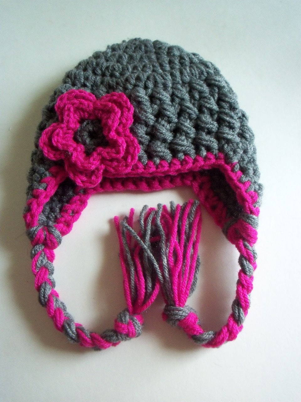 Crochet Newborn Hat In Grey and Hot pink