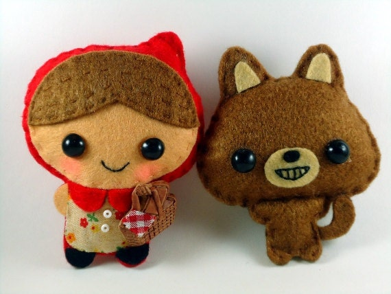 Little Red Riding Hood and the Wolf Special Lot - felt plush dolls in a kawaii style - use as pins, magnets or Christmas ornaments