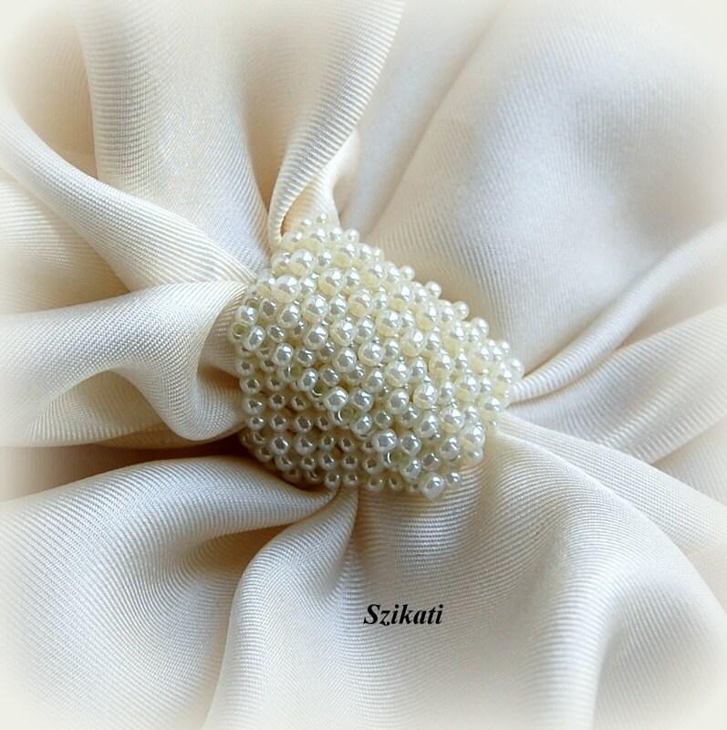 Beadwoven ring, seed bead jewelry, bridal jewelry, OOAK