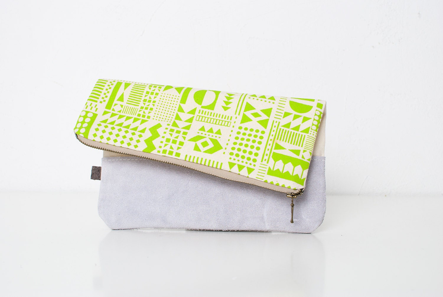Geometric Pattern Leather Pouch neon lemon