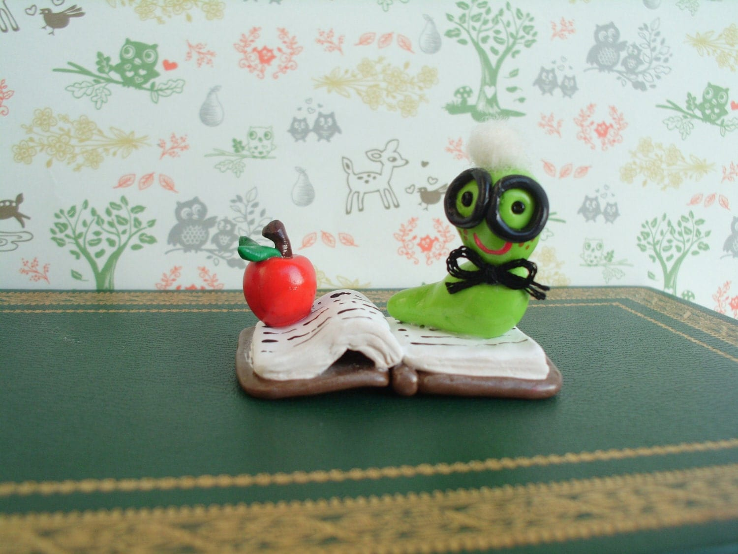 Book Worm Polymer Clay Ooak Miniature - MyWillies