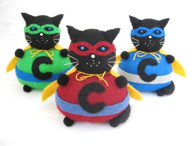 Superhero Cat Pincushion Chunky the Caped Crusader...Pick Your COLOR...cute felt kitty cat collectable or gift for animal lover...IN STOCK - FatCatCrafts