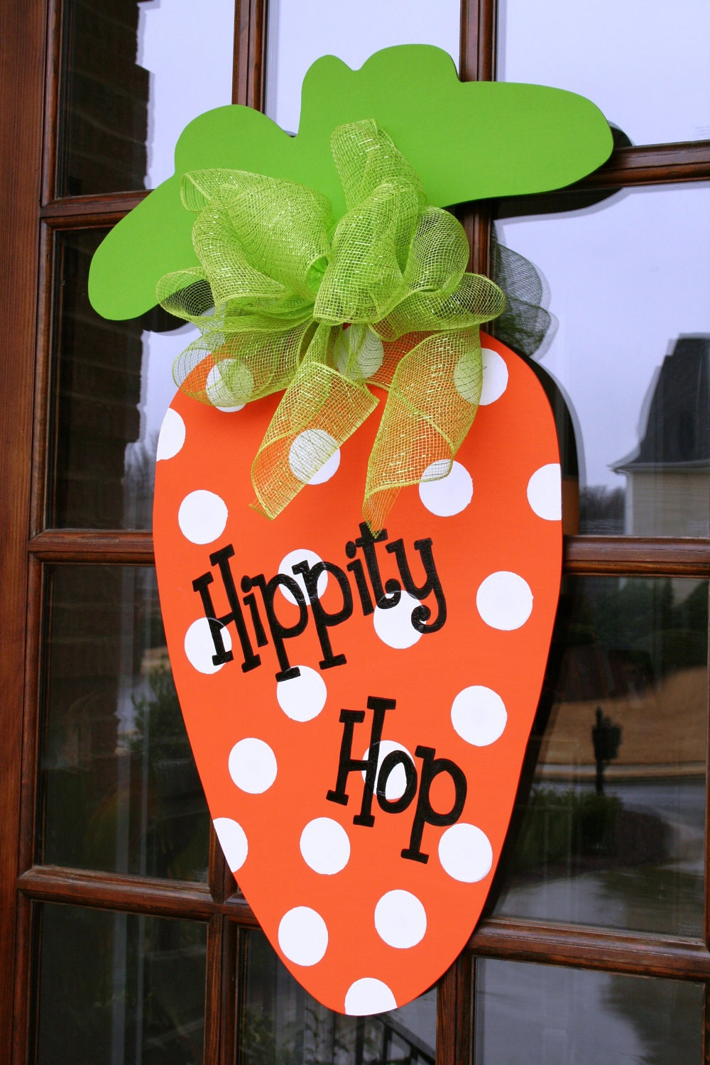 Large Whimsical Carrot Door Decor- Hand cut & Handpainted