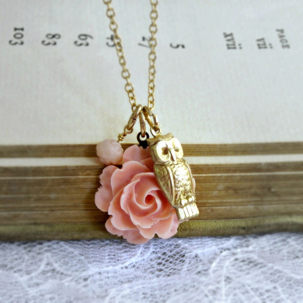 Owl Charm Necklace Flower Rose Peach Whimsical Hostess Woodland - The Owl and the Rose
